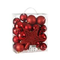 Набор шаров с верхушкой 40 шт Красный