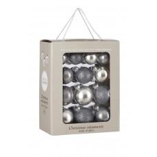 Набор стеклянных шаров 26 шт Серебряный микс