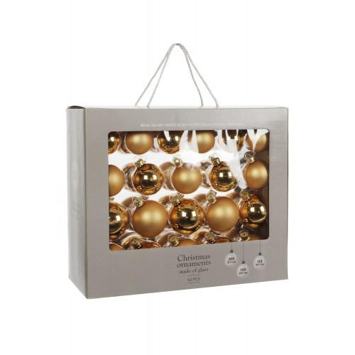 Набор стеклянных шаров 42 шт Золото