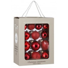 Набор стеклянных шаров 26 шт Классический красный
