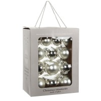 Набор стеклянных шаров 26 шт Серебро