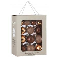 Набор стеклянных шаров 26 шт Шоколадное суфле