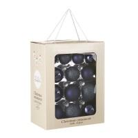 Набор стеклянных шаров 26 шт Темное синее море