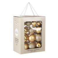 Набор стеклянных шаров 26 шт Золотой микс