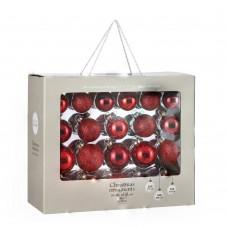 Набор стеклянных шаров 42 шт Классический красный