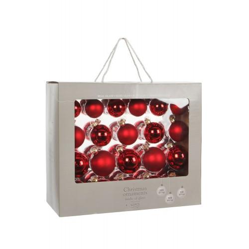 Набор стеклянных шаров 42 шт Красный