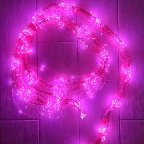 Светодиодная гирлянда Хвост 1000 огней Розовое золото медный провод 2 м