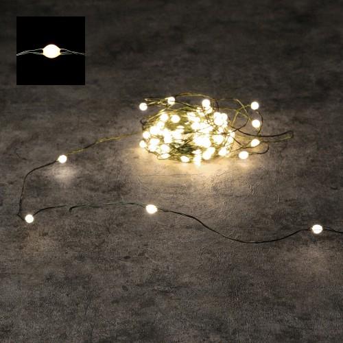 Светодиодная гирлянда Роса 150 огней Теплый белый зеленый провод 15 м