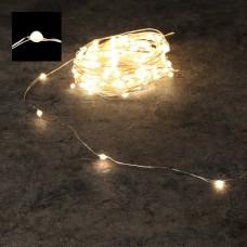 Светодиодная гирлянда Роса 150 огней Теплый белый серебряный провод 15 м